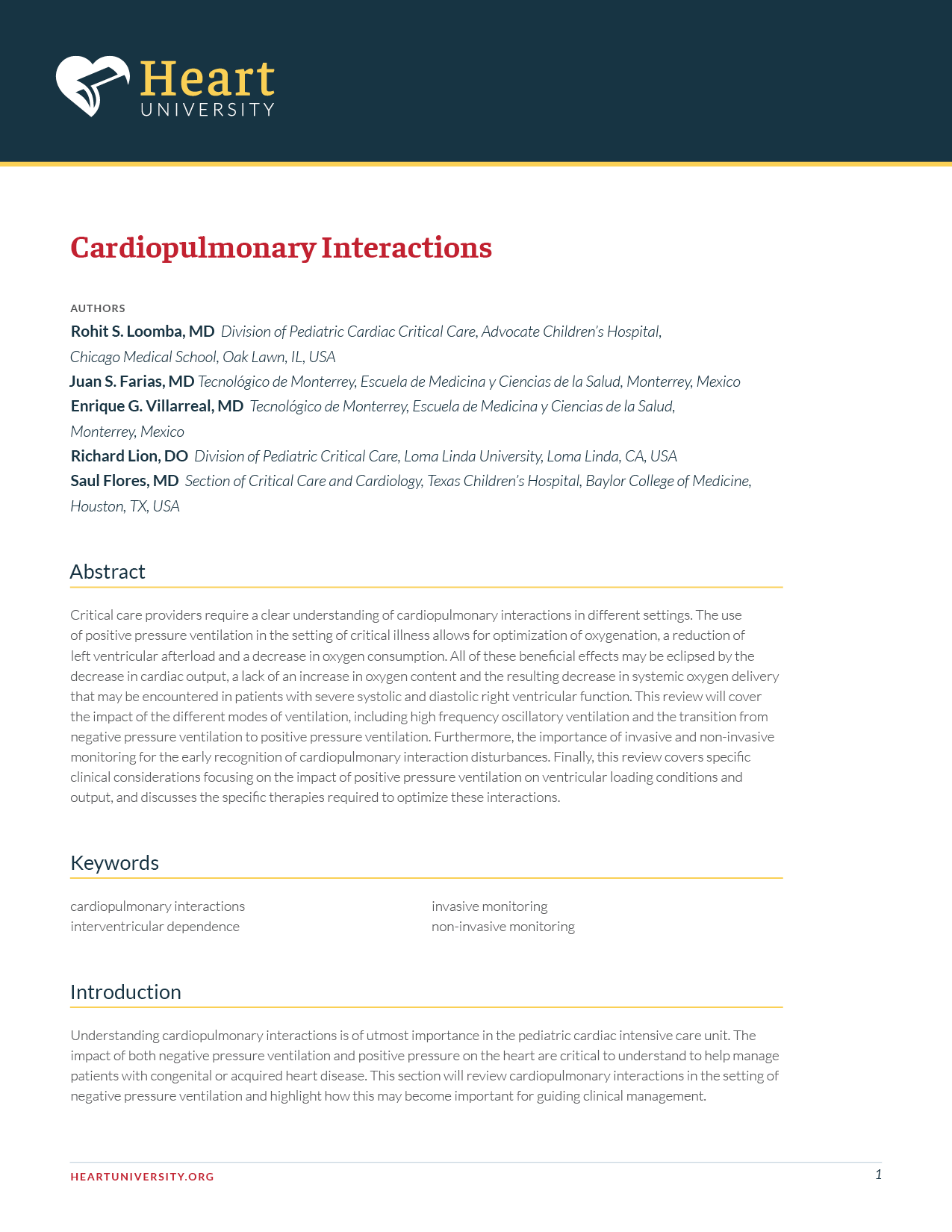 Cardiac ICU - Cardiopulmonary Interactions